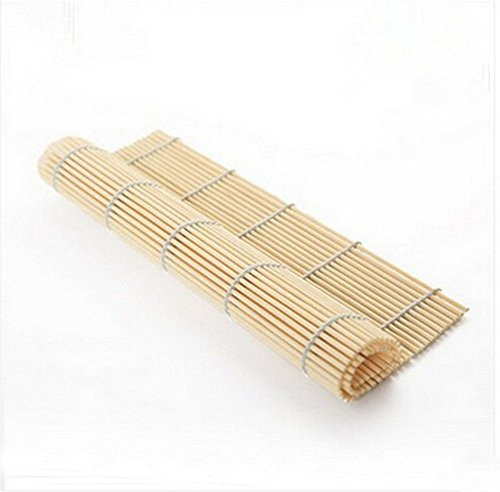 Wooden Color Bamboo Sushi Rolling Roller Mat Sushi Plates 3 Pcs Set