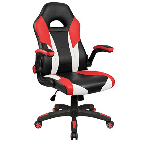 Homall Gaming Chair Office Computer Chair Racing Desk Chair Ergonomic High Back Adjustable Swivel Chair PU Leather Executive Chair for Adults with Flip Up Padded Arms Red
