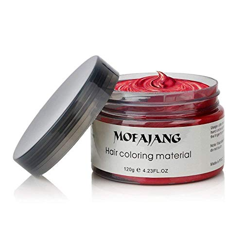 MOFAJANG Unisex Hair Wax Dye Styling Cream Mud, Upgrated Natural Hairstyle Color Pomade, Washable Temporary,Party Cosplay Daily Use - Red]()