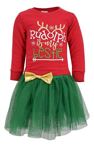 Unique Baby Girls Rudolph is My Bestie Christmas Tutu Dress (4t) Red ()