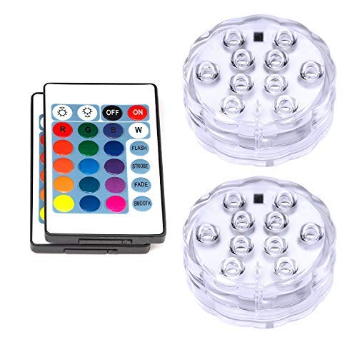 - VIPMOON Submersible LED Lights,2 Pack 10LED Waterproof Light Multi Color Battery Operated Submersible Spot Lights with Remote Control for Vase Base,Floral,Aquarium,Pond,Wedding,Halloween Decorations