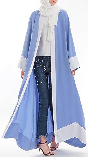 YI HENG MEI Women's Muslim Islamic Open Front Color Block Long Maxi Abaya Cardigan Wraped,Blue,Tag XXL = US Size 16-18 by YI HENG MEI