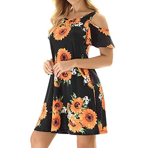 Robe Épaules Dénudées Femmes Casual Fille Plage Loose Courte Noir Mini De Fleurs Manche Vintage Chic Soirée Dress Impression Tunique Amlaiworld BnxE1Awx