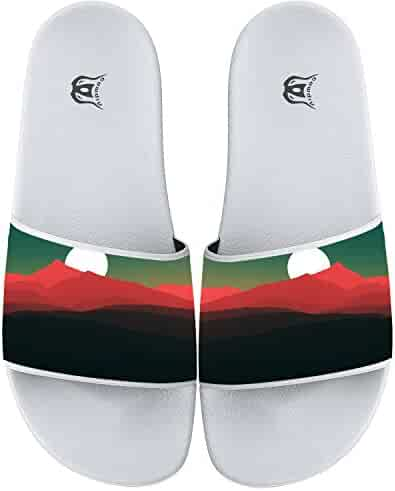 0557abb475eb3 Sunset Print Indoor Outdoor Flip Flops Beach Pool Slide Sandals Slippers  For Men And Women