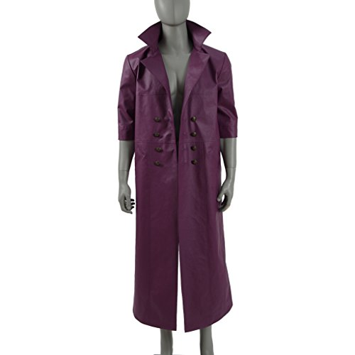 Men's Purple PU Leather Halloween Costumes Long Trench Coat Cosplay for Joker
