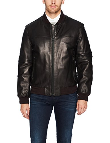 Marc New York by Andrew Marc Men's Summit Lambskin Leather Baseball Jacket, Black, Large