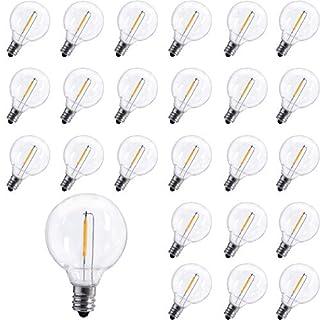 25 Pack G40 LED Replacement Bulb E12 Screw Base LED Globe Light Bulbs for Patio String Lights, Equivalent to 0.6-Watt Clear Light Bulbs