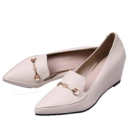 32 Pull Kitten PU Women's Heels Closed Beige Odomolor On Toe Solid Shoes Pumps Zx76xqR