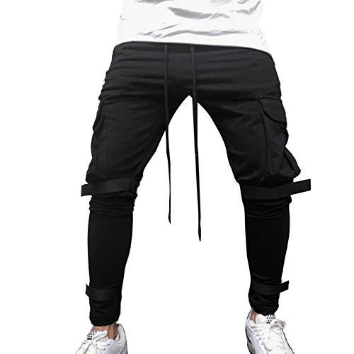 Sport Nero Tuta Pantalone Tasca Pocket Puro Lavoro Paolian Pantaloni uomo Uomo Casual Colore UVSzMp
