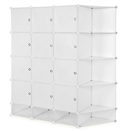 SONGMICS 5-Tier 20 Cubes DIY Plastic Storage Closet Organizer Cube Organization System With Doors Sticker and Rubber Hammer 57 1/2