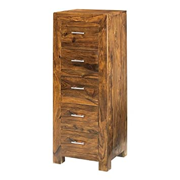 Cuba Sheesham 5 Drawer Tall Chest Of Drawers   Furniture By Cuba Sheesham  Furniture