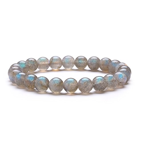 Labradorite Crystal Gemstone (Stretch Bracelet J.Fee Healing Gemstone Natural Labradorite Round Beads Bracelet 8mm Beaded Crystal Boho Bracelet Men's and Women's Jewelry Christmas Birthday Anniversary Gift for Girlfriend Wife Girl)