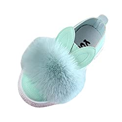youeneom Baby Girl Winter Sneaker Toddler Fur Warm Shoes Children Bunny rabbit Ear Hairball Soft Anti-slip Boot