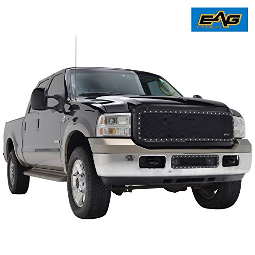 EAG Mesh Grille Rivet Black Stainless Steel Wire Mesh Grille W/Shell Fit for 05-07 Ford Super Duty ()