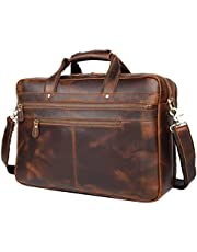 """Polare Real Soft Nappa Leather 17"""" Laptop Case Professional Briefcase Business Bag for Men"""