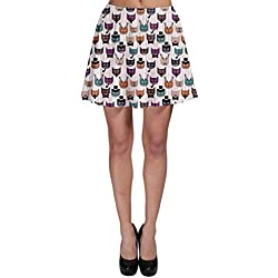 CowCow Colorful Pattern With Colored Cats Skater Skirt, Colorful-2XL