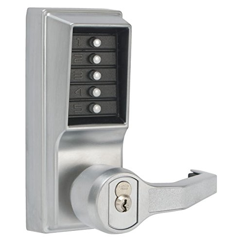 Kaba Simplex L1000 Series Metal Mechanical Pushbutton Cylindrical Lock with Lever, Key Override, 13mm Throw Latch, Floating Face Plate, 70mm Backset, R/C Schlage, Core Not Included, Satin Chrome Finish, Right Hand