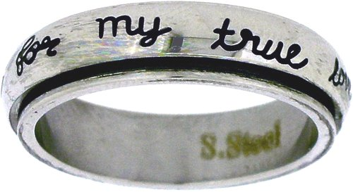 """Solid Rock Jewelry STAINLESS STEEL """"I will wait for my true love"""" CURSIVE FONT CHRISTIAN PURITY SPIN RING STYLE 364-SIZE 7 from Solid Rock Jewelry"""