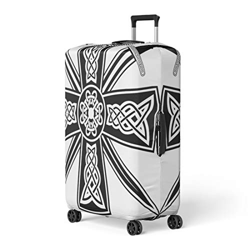 Pinbeam Luggage Cover Pagan Celtic Cross the Crossed Swords Knot Medieval Travel Suitcase Cover Protector Baggage Case Fits 18-22 inches
