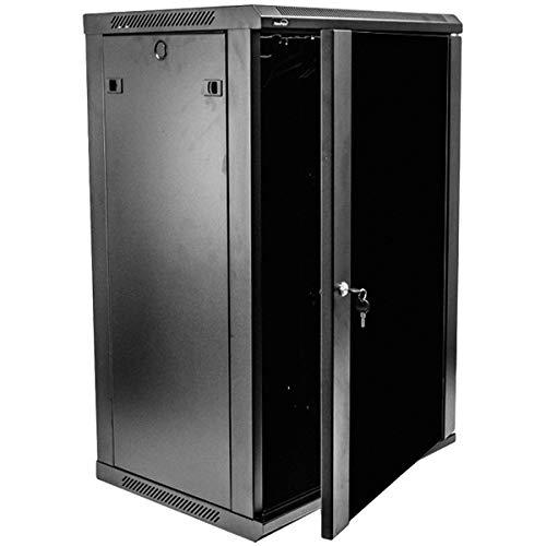 NavePoint 18U Deluxe IT Wallmount Cabinet Enclosure 19-Inch Server Network Rack With Locking Glass Door 16-Inches Deep Black