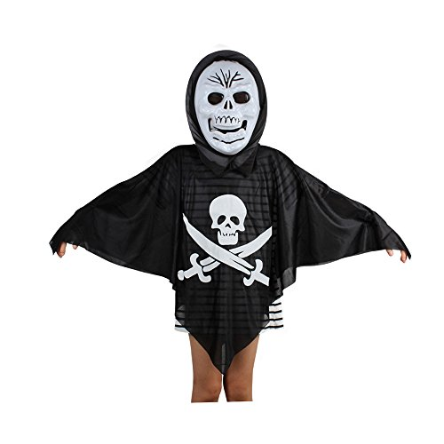 Colonial Assassin Costume (Absolutely Perfect Kids Black Evil Spirit Ghost Hooded Cloak Dress Scary Mask Child Cape Costume For Halloween Skull One Size)