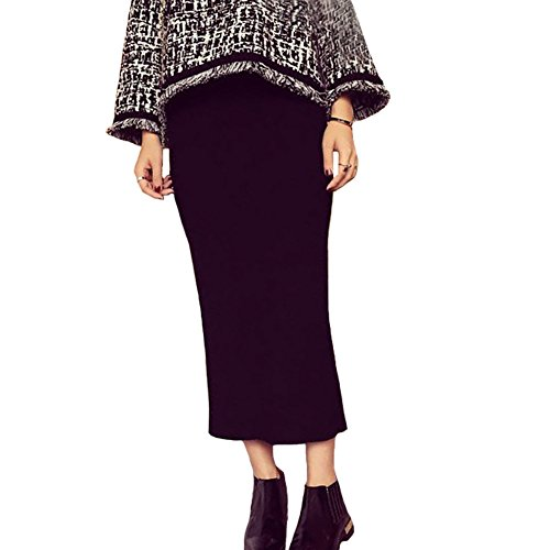 Women Solid Color Slim Split Knitted Pencil Hobble Skirt One Size (Black)