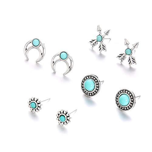 Bigsweety Green Geometry Pattern Stud Earrings Simple Arrow Flower Rounding Pendant Earrings Set Cubic Zirconia Pattern Earrings