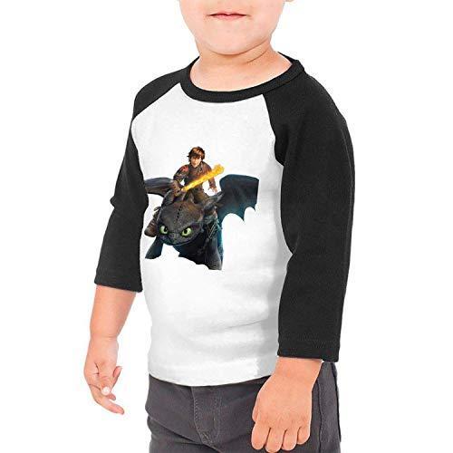 Baby How to Train Your Dragon 3/4 Sleeve Raglan Baseball T-Shirts for Girls & Boys Black