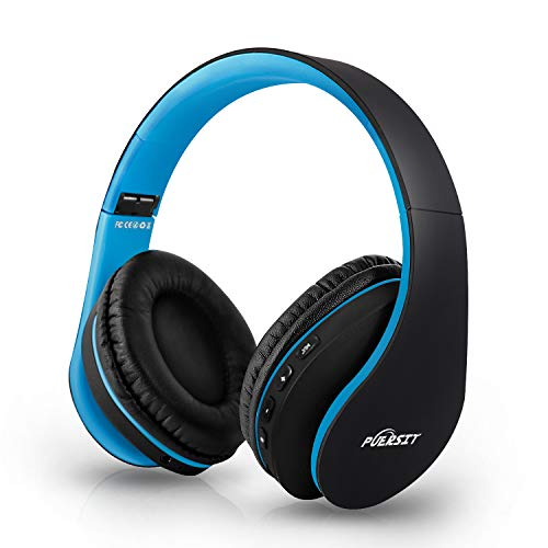 Bluetooth Headphones Wireless, Puersit Over Ear Hi-Fi Stereo Headset with Deep Bass, Foldable and Lightweight, Wired and Wireless Modes Built in Mic for iPhone Samsung TV PC Laptop (Black-Blue)