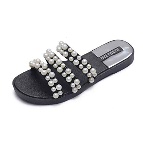 XINBONG Women's Jelly Slippers String Bead Beach Slides Shoes Open Toe Flat Sandals]()