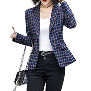 ZingineW Women's Blazer with 3/4 Sleeves Jacket One Button Office Cardigan Casual Plaid Blazers 28