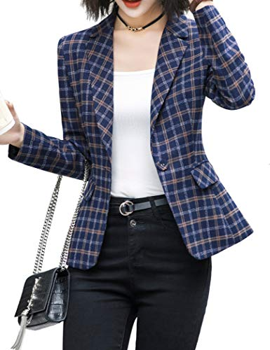 ZingineW Women's Blazer Long Sleeve Jacket One Button Office Cardigan Casual Plaid Blazers 2XL BluePlaid