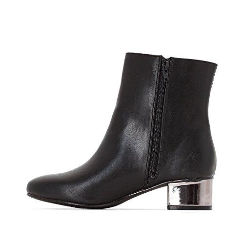 La Redoute Castaluna Frau Boots mit Spiegelndem Absatz fur Breite Fusse, Gr. 3845 Schwarz
