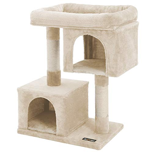 FEANDREA Cat Tree for Large Cats, 2 Cozy Plush Condos and Sisal Posts UPCT61M Beige Cat Scratch Post