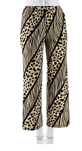 Bob Mackie Clothes - Bob Mackie Mixed Print Allover Pull-On Knit Pants Wide Legs Camel L # A279152