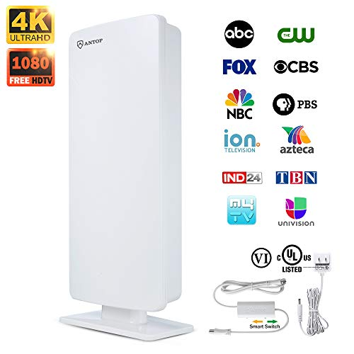 TV Antenna, ANTOP Outdoor / Indoor Digital Smartpass Amplifier HDTV Antenna 80 Miles Multi-Directional VHF/UHF High Gain Reception with Tools-Free Installation and 40ft High Performance Coaxial Cable