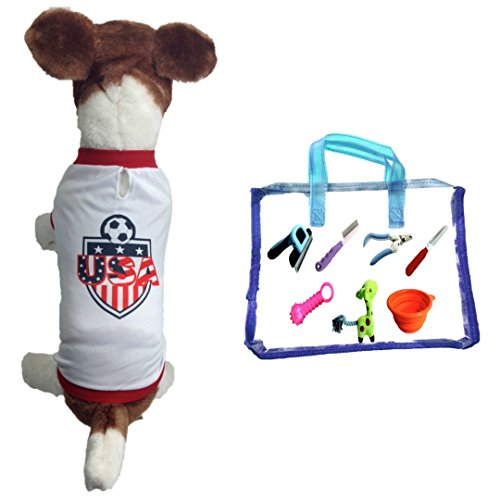 Dog Soccer Jersey Usa (Small)-pet T-shirt-Dog Grooming Tools-Makes Dog Comfortable-cozy up Costume to Celebrate Your Country Tradition-enjoy Your Football Team Passion-best Quality Jersey.
