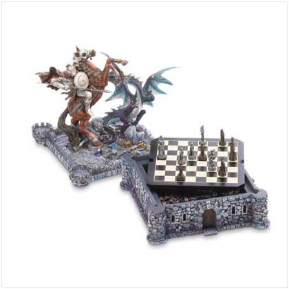 Dragon & Knight Chess Set ,Civil War Chess Set ,battle over this medieval fortress and the treasures hidden - Board Fortress Chess