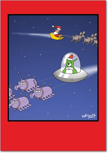 - 12 'Alien Santa' Boxed Christmas Cards with Envelopes (4.75 x 6.625 Inch), Santa Claus in Outer Space Holiday Notes, Silly Humor, Santa and Alien Christmas Cards, UFO and Santa's Sleigh Cards B1664