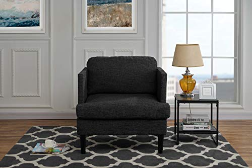 Chair Ash Accent - Mid Century Modern Linen Fabric Armchair, Living Room Accent Chair (Ash Grey)