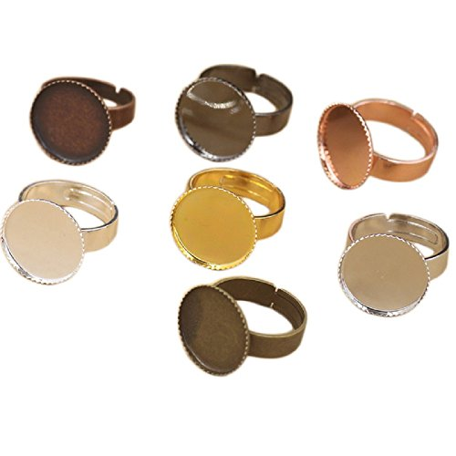 (Yalulu 50pcs 12mm Antique Bronze Brass Silver Adjustable Finger Ring Findings, Pad Ring Bases DIY Perfect for)