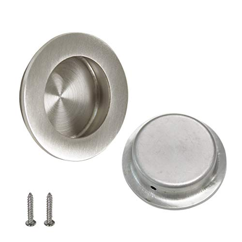 2 Pack Brushed Nickel Round Recessed Sliding Door Pull Stainless Steel Round Finger Pull 2