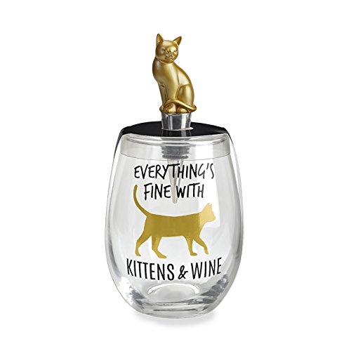 Everything's Fine with Kittens and Wine Gold Kitten Quality Wine Stopper and Glass Set