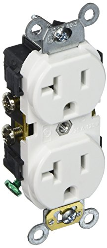 Leviton CR020-W 20-Amp, 125 Volt, Slim Body Duplex Receptacle, Straight Blade, Commercial Grade, Self Grounding, - Commercial Outlet