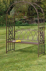 New Steel Garden Arch Trellis And Bench Perfect For Any Garden Or Lawn  Great Quality