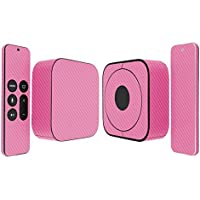 Skinomi TechSkin - Apple TV 2015 (4th Gen) Pink Carbon Fiber Full Body Skin / Front & Back Wrap Clear Film / Ultra HD & Anti-Bubble Invisible Shield (4th Generation)