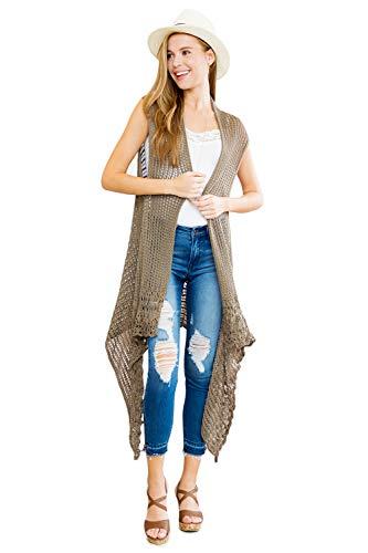 Crochet Sweater Vest - Crochet Sweater Knit Long Drape Vest Sleeveless Cardigan - Open Knitted Beachwear Bathing Swimsuit Bikini Cover Kaftan Shawl (Khaki)