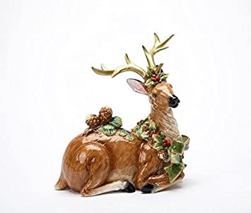 Cg Sitting Reindeer with Large Antlers and Pine Cones and Holly Figurine