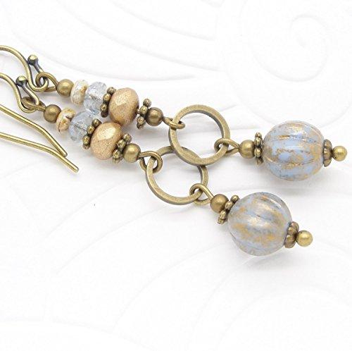 Blue Boho Dangle Earrings with Czech Glass Beads -