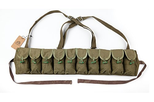 (Navy Chinese Military Genuine Surplus SKS Rifle 7.62x39 10 Pocket Chest Pouch Rig Bandoleer Bandolier For Cartridge Ammo Ammunition cool shiny Brand)